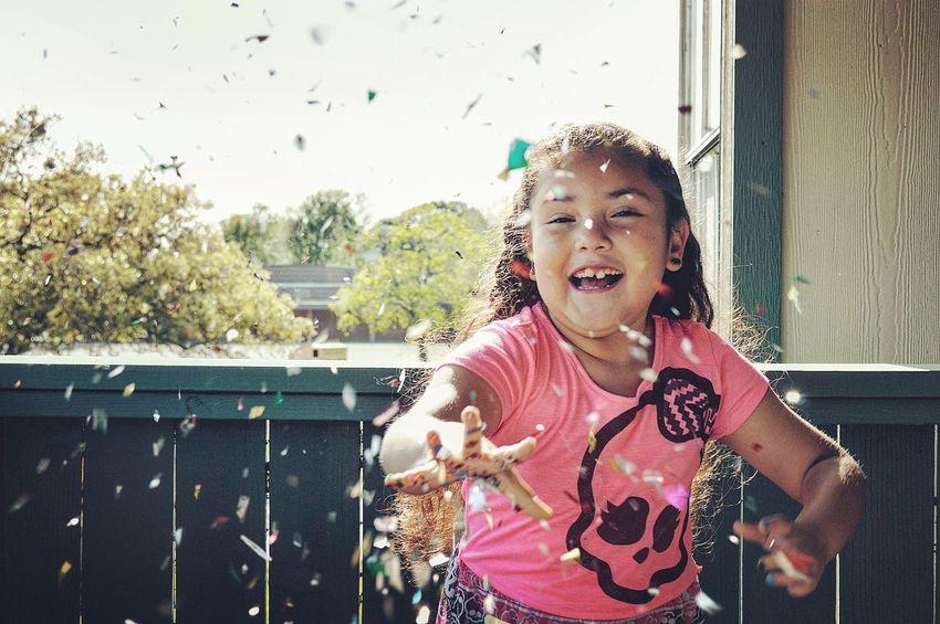 Girl Smile Fun Confetti