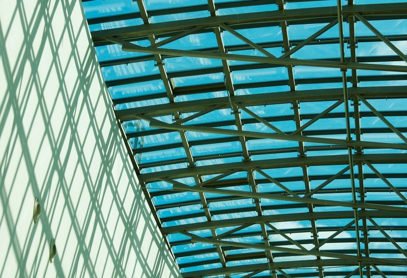 Arhitecture Shadows Glass - Material Blue Blue Sky Green Wall