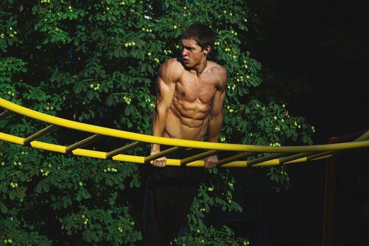 working out in da hood Art Atletic Bars Body & Fitness Bodybuilding Creativity Man Nature Sculpture Sexyboy Summertime Tree Working Out