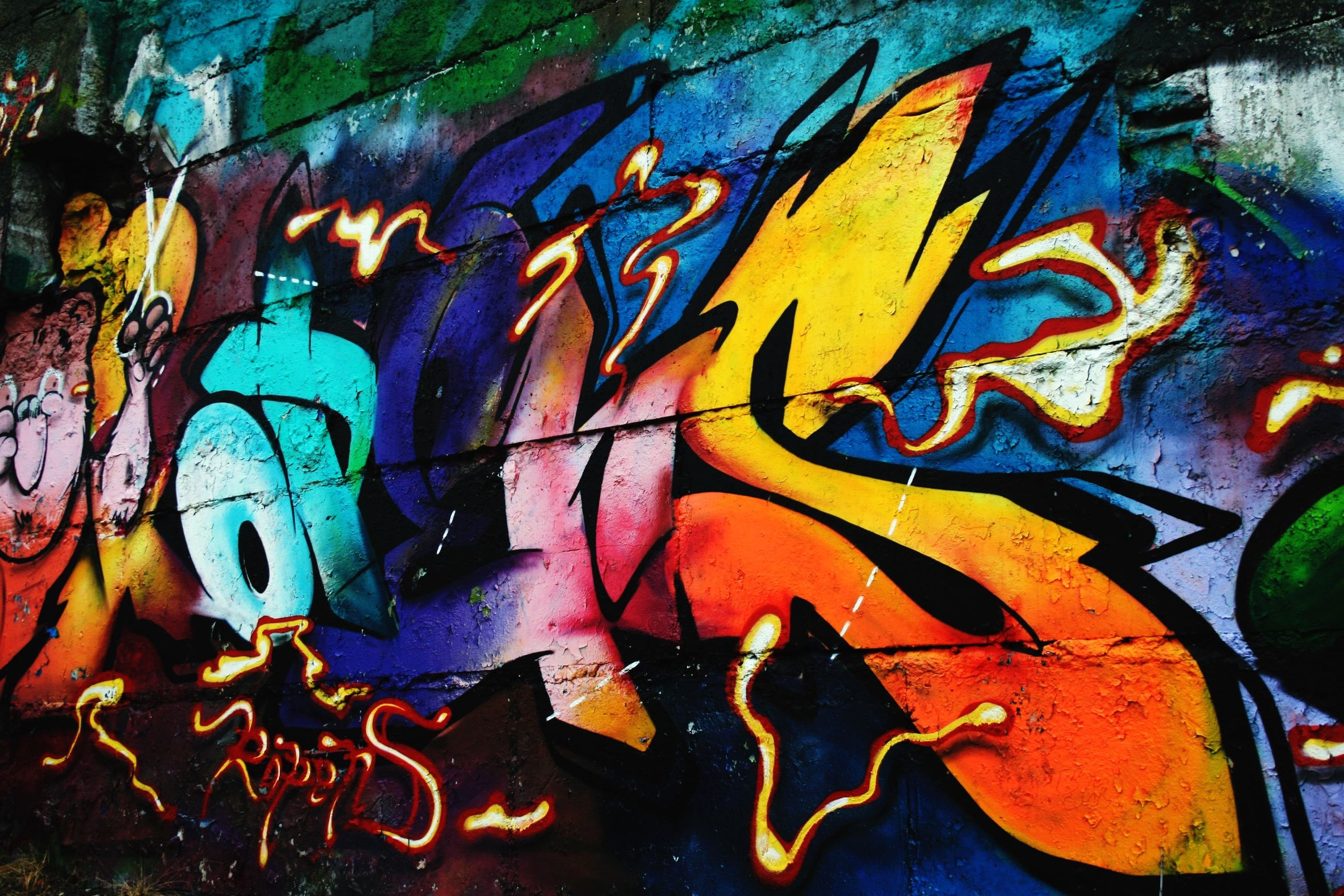 graffiti, art, creativity, art and craft, multi colored, wall - building feature, street art, full frame, built structure, backgrounds, mural, orange color, wall, close-up, paint, architecture, human representation, painting, pattern, no people