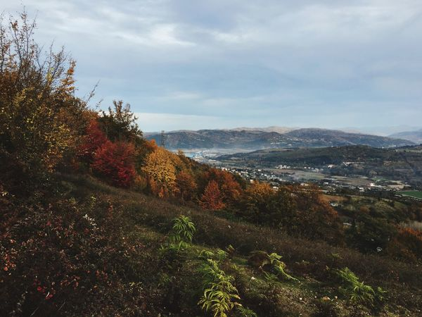 Nature Beauty In Nature Mountain Scenics Tranquil Scene Sky Tranquility Tree Day Outdoors No People Cloud - Sky Landscape Mountain Range Autumn EyeEmNewHere