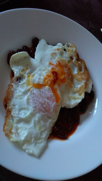 Eggs For Breakfast Food Breakfast Food And Drink Eggs And Beans Fried Egg Freshness