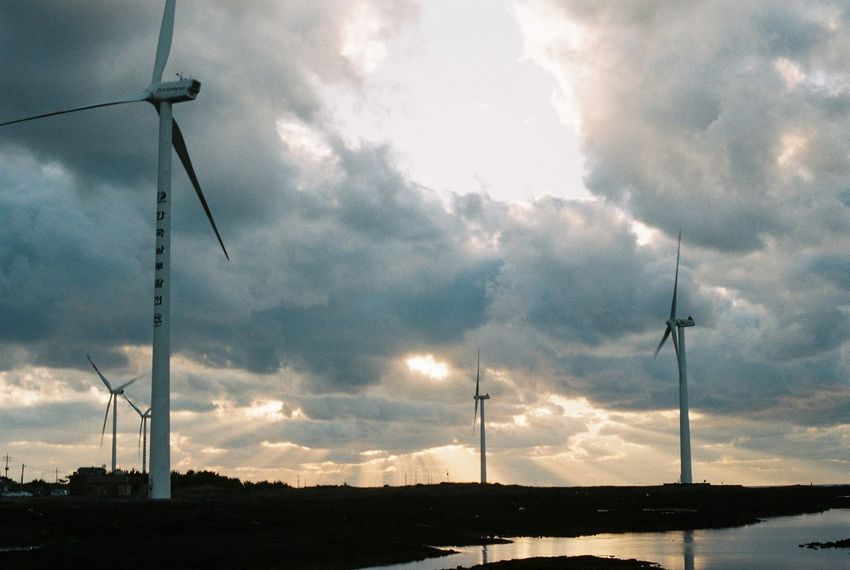 Film Alternative Energy Beauty In Nature Cable Cloud - Sky Day Electricity  Environmental Conservation Film Photography Fuel And Power Generation Industrial Windmill Low Angle View Nature No People Outdoors Scenics Silhouette Sky Sunset Technology Tree Wind Power Wind Turbine Windmill