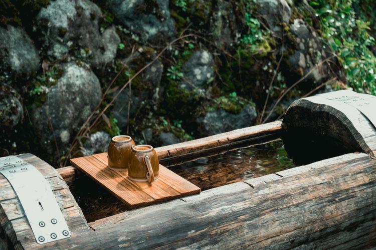 High angle view of rocks on table