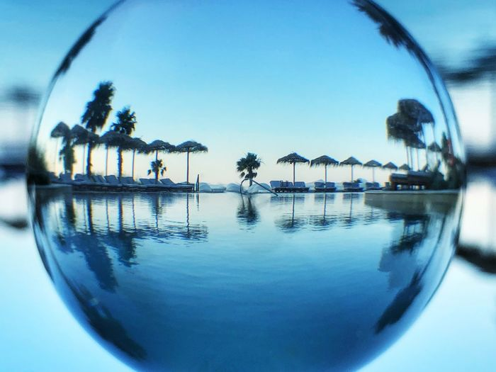 Reflection of trees in swimming pool against clear blue sky