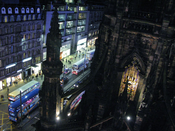 Taken from a big wheel, handy for new and interesting angles. Architecture City Edinburgh Glow Glowing Gothic High Angle View Light Night Princes Street Scotland Scott Monument Scottish Stained Glass Stained Glass Window Tower Traffic Victorian Cities At Night A Bird's Eye View