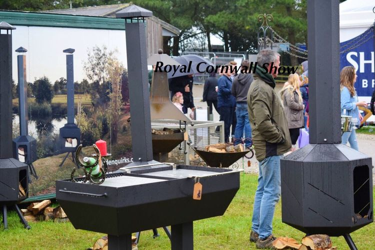 Cornwall Stock Image Rainy Day Outdoors Large Event Royal Cornwall Show 2017 Chimneys Fires People And Places Localscene Local Businesses Stalls Trade Small Business Heroes