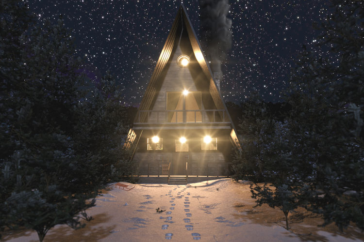 A-frame wooden cabin in snowy winter landscape at starry night A-frame Christmas Winter Snow Illuminated Cold Temperature Architecture Night Nature Footsteps WoodLand Starry Sky Built Structure Lighting Equipment Outdoors Fir Tree Wooden Cabin Lodge Wooden Hut Forest Lights