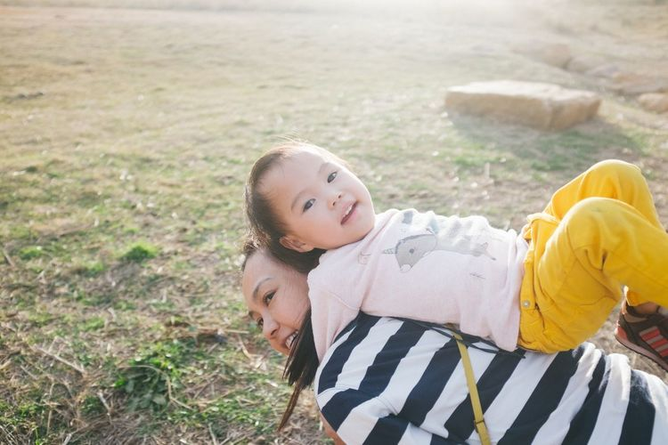 Mother And Daughter Bonding Childhood Family Trip Happiness High Angle View Outdoors Real People Smiling