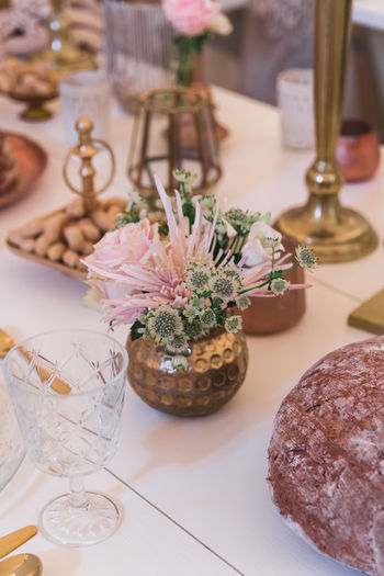 Table Indoors  Freshness Food And Drink No People Still Life Plant Glass Flower Food High Angle View Business Flowering Plant Glass - Material Ready-to-eat Focus On Foreground Plate Close-up Vase Decoration