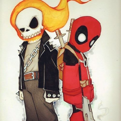 Ghost rider et deadpool Ghostrider Deadpool Gunsandfireblazingmadness