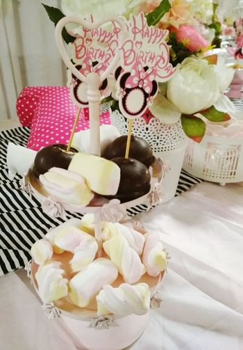 Birtdhay🎂 Birtday Party(: Birtdaycake Bonbonniere Flower Indoors  Sweet Food Food And Drink Table Flower No People Freshness Home Interior Food Indulgence Dessert