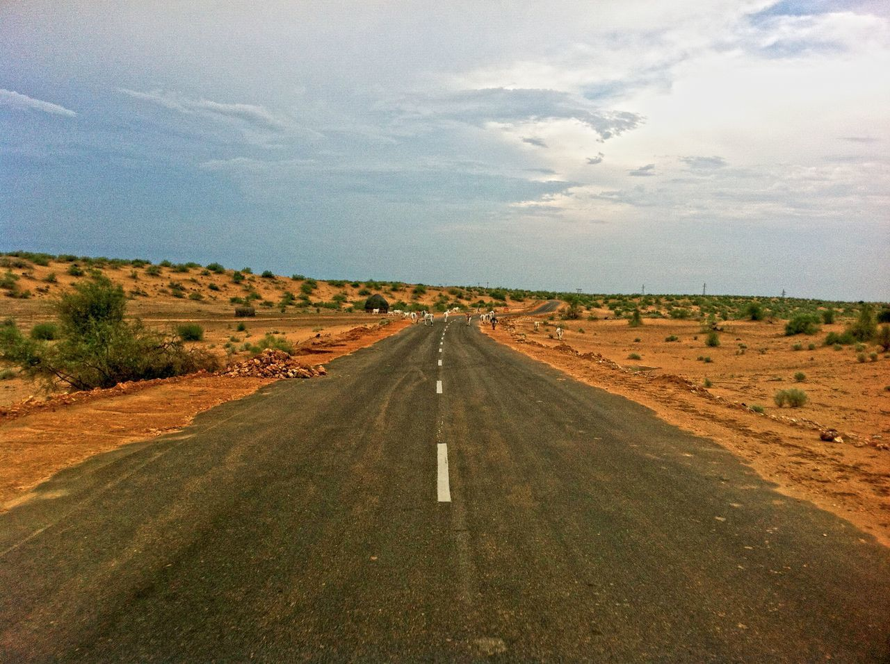 sky, road, landscape, the way forward, cloud - sky, no people, transportation, scenics, outdoors, day, nature, beauty in nature