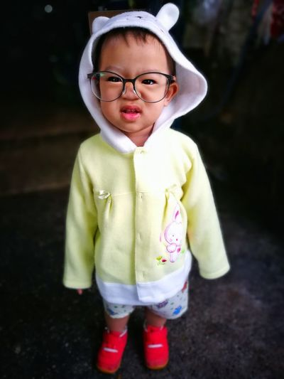 Child Childhood Children Only One Person Portrait Looking At Camera Cute Males  Front View Standing Eyeglasses  People Protruding Close-up Outdoors Day