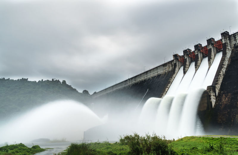 Water spilling over the dam