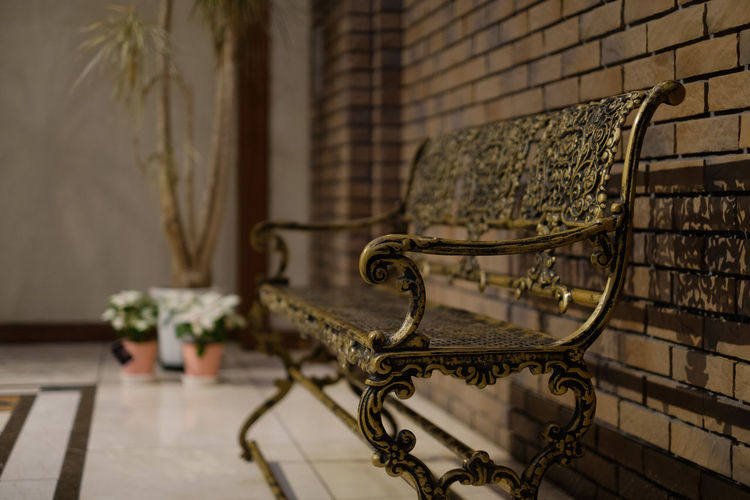 Japan Japan Photography Fujifilm Fujifilm_xseries X-t2 FUJIFILM X-T2 Bench No People Indoors  Focus On Foreground Seat Selective Focus Chair Absence Flooring Metal Table Still Life Day Empty Close-up Pattern Wall - Building Feature Furniture Architecture