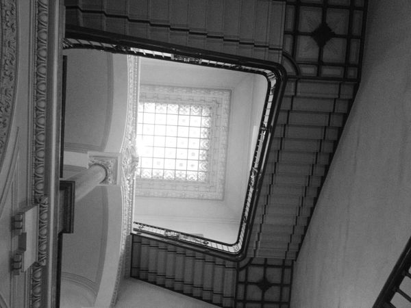 Lookingup Stairs Urban Geometry Black And White
