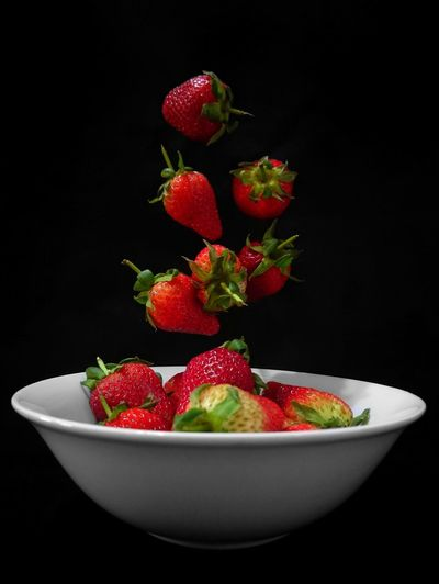Color Splash Fruits Strawberries Red Color Red Black Background Fruit Studio Shot Red Bowl Healthy Lifestyle Strawberry Close-up Food And Drink Fruit Bowl