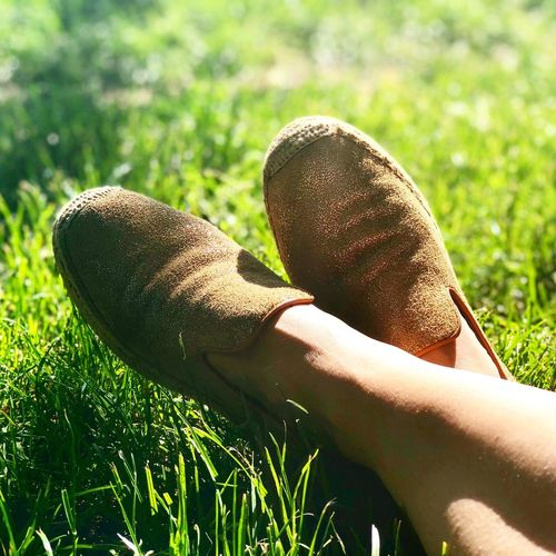 Relaxing weekend Espadrilles  IPhoneography Uggs Ugg Human Body Part One Person Real People Grass Human Hand Body Part Day Green Color Lifestyles Sunlight Nature Human Leg Outdoors Field