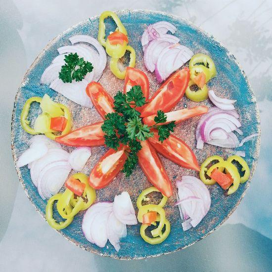 Directly Above Shot Of Sliced Vegetables Arranged On Table