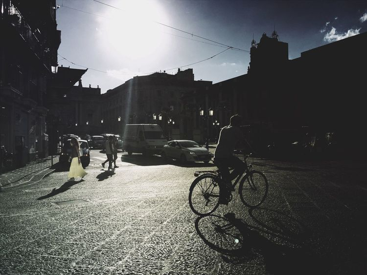 Catania Sizilien Sizilia City Life City Street City View  Street Streetphotography Street Photography Street Life Streetview Sunrays Silhouette_collection Silhouettes Of A City Bycicle