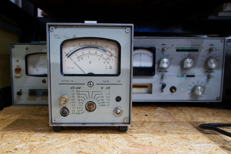 Close-up of oscilloscope on table