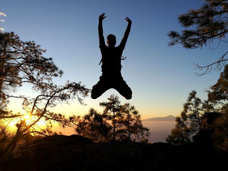 Jumping Gran Canaria Pinar De Tamadaba. Las Palmas De Gran Canaria. Islas Canarias Teide Desde Gran Canaria Jumping Sunset Vitality Silhouette One Man Only Healthy Lifestyle Mid-air Lifestyles Nature Sky Love Yourself EyeEmNewHere