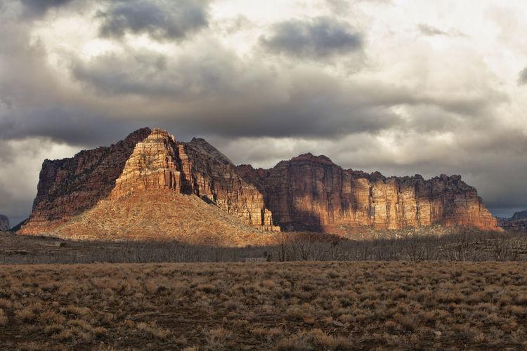 Waiting for Light Utah Zion National Park Storm Clouds Light Beauty In Nature Landscape Sky Rock Formation Sandstone