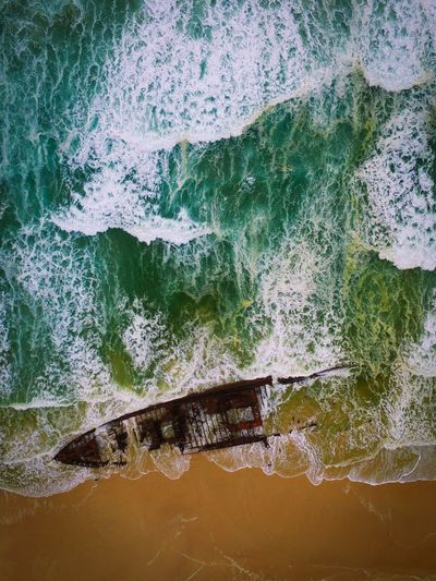 Aerail View Of Shipwreck In Water