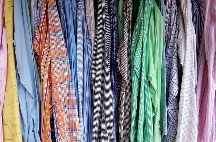 Textile Backgrounds Multi Colored Hanging Clothing Hanging Shirts Hanging Shirt Shirts Shop Shirt Shirtporn Patterns & Textures Flea Market Cover Background Vintage Clothing Old Clothes Apparel Industry Apparel Clothes Fabric Hanging Clothing For Sale