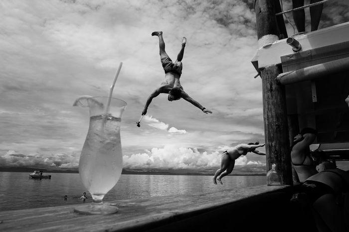 Cloud 9 Black And White Blackandwhite Jumping Leisure Activity Pacific Ocean People Real People Sea Streetphoto_bw Streetphotography SUVA FIJI ISLANDS The Street Photographer - 2017 EyeEm Awards