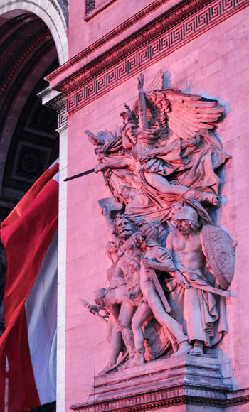 Travel Building Exterior Travel Destinations Pink Color Creativity Close-up Statue Art And Craft Representation History Arc De Triomphe Arc De Triomphe, Paris Nightphotography Revolution French Revolution world cup 2018 World Cup Soccer Football Emotions Zeitgeist Popculture Streetphotography Red