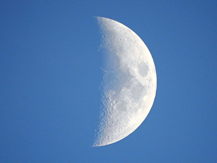 How many times have you looked at the moon ? Me personally since I was old enough to know what it was , and yet it never fails to put wonder on my face ... Beautiful Moon Blue Sky EyeEm Best Shots