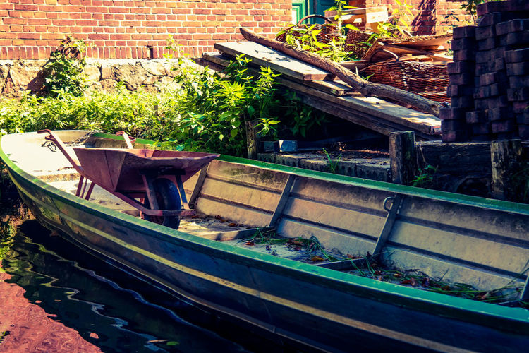 Barge Hooked Rowing Boat Tub Abandoned Architecture Brick Brick Wall Building Building Exterior Built Structure Day Handbarrow Mode Of Transportation Nature Nautical Vessel No People Obsolete Outdoors Pushcart Spreewald Transportation Wall Water Wheel Barrow