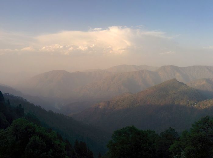Scenic rocky mountain range against sky
