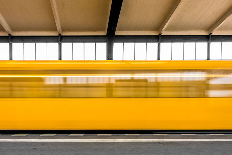 Motion Underground Train Subway Station Day Speed Yellow Public Transport U-Bahn Transportation Public Transportation Indoors  Discover Berlin No People Subway Train Mode Of Transport Berlin Photography Blurred Motion Yellow Color Rail Transportation Paint The Town Yellow 2018 In One Photograph