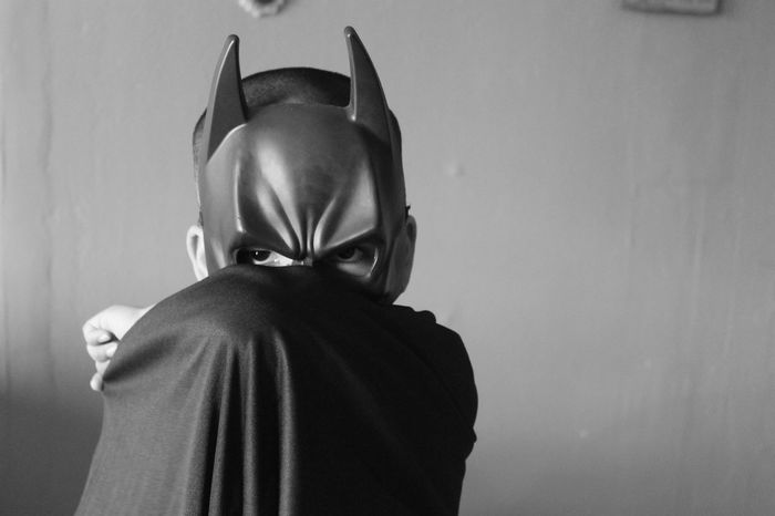 Batman Batboy Superhero Portrait Black And White Single Light Source