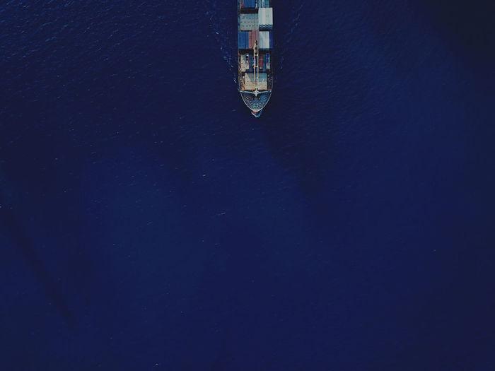 Aerial view of a cargo ship
