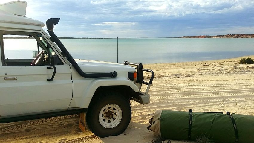 Beach Sand Transportation Water No People Outdoors Day Sky Nature Big Lagoon Shark Bay Australia Beauty In Nature Landscape Swag Country Life Camping Out Reconnecting With Nature No Wifi No Phone