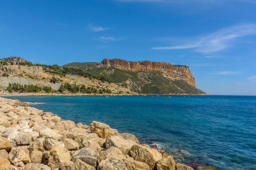 Blue Cassis Cliff Coastline Côte D'Azur France French Riviera Geology Idyllic Rock Formation Scenics Sea Sky Summer Tranquil Scene Tranquility Water