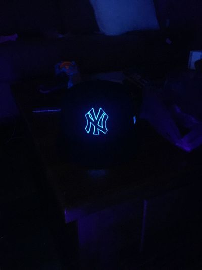 Illuminated Blue Dark Fluorescent Light Electric Light New York Yankees First Eyeem Photo