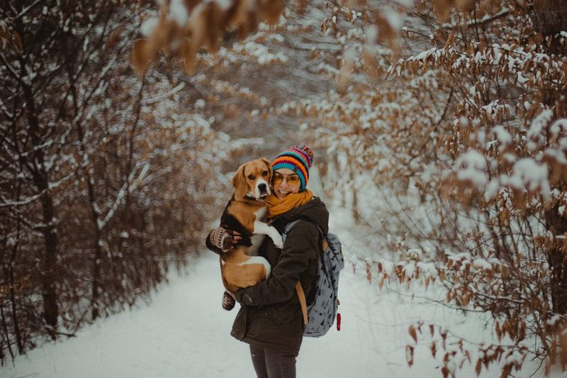 The girl and the dog Nature Canine Pets Snow Animals Animal Dogs Dog Love Fun Smiling Winter Snow Cold Temperature Mammal Warm Clothing Tree Nature One Animal Adult Childhood Representation Pets Offspring Clothing People Snowing