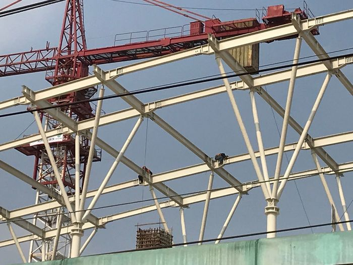 Low Angle View Built Structure Architecture Sky Metal Day Nature Construction Industry Connection Construction Site Outdoors Industry Bridge - Man Made Structure Clear Sky Construction Frame