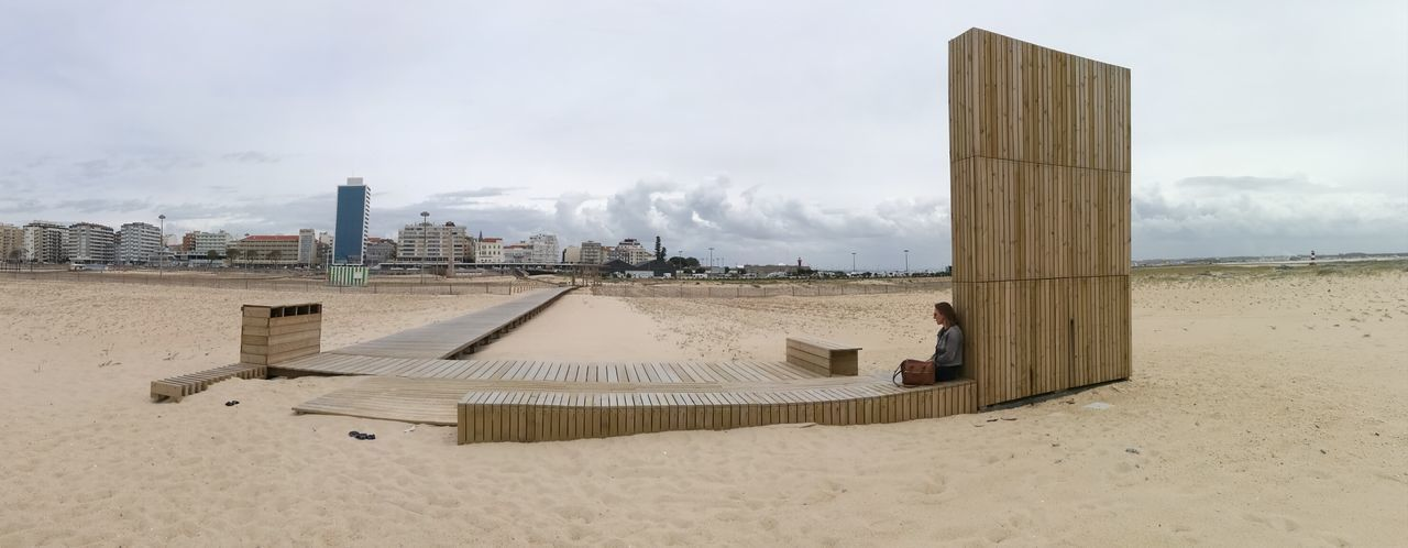 Sand Sky Beach Outdoors Cloud - Sky Day Water Architecture City Urban Skyline Tranquil Scene Nature Tranquility EyeEm Nature Lover EyeEmNewHere Architecture Sea No Filter in Figueira Da Foz, Portugal Fisheye Investing In Quality Of Life Breathing Space