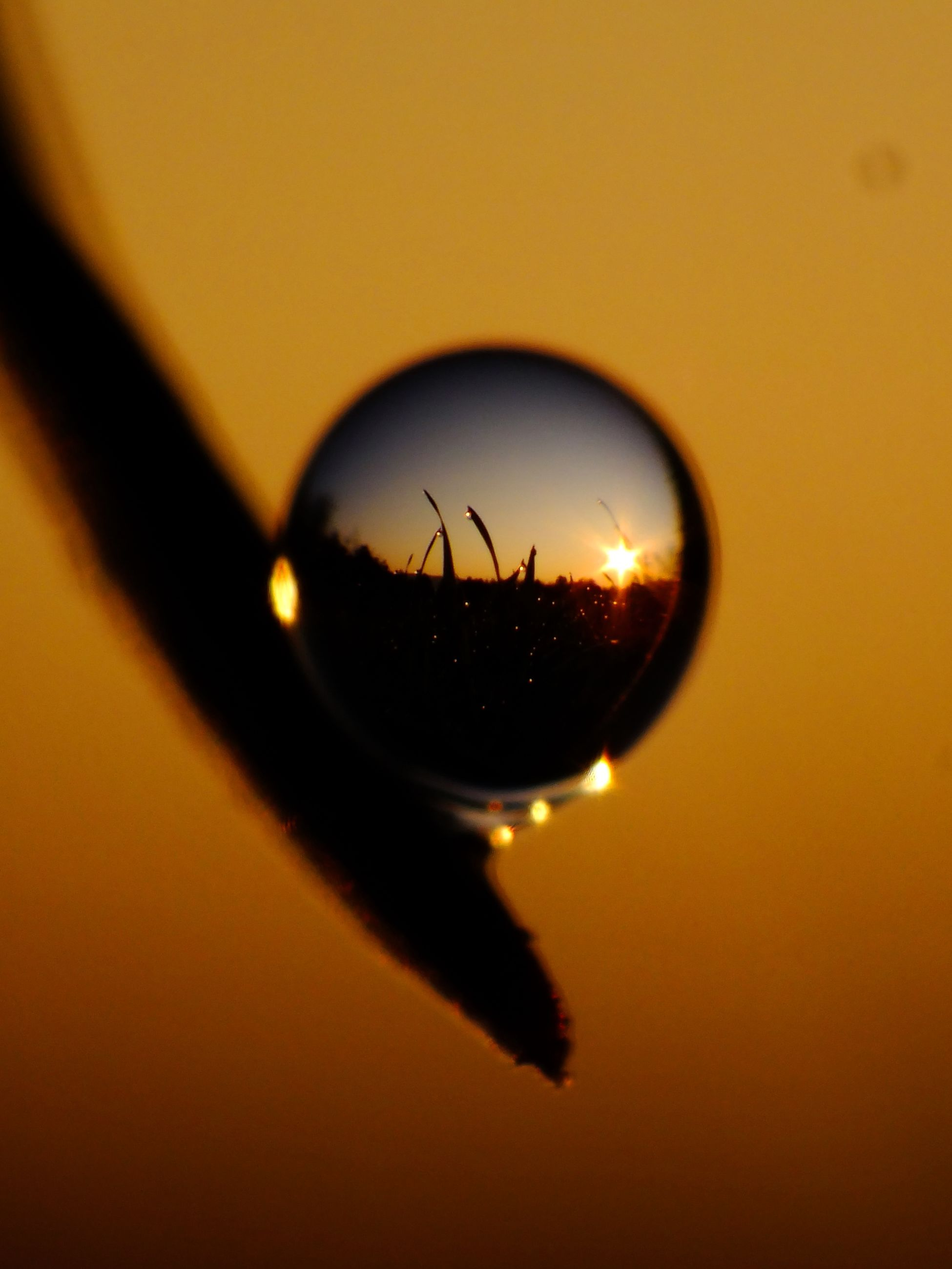 transparent, glass - material, indoors, close-up, reflection, sunset, focus on foreground, drop, lighting equipment, orange color, illuminated, light bulb, circle, no people, electricity, selective focus, single object, window, hanging, water