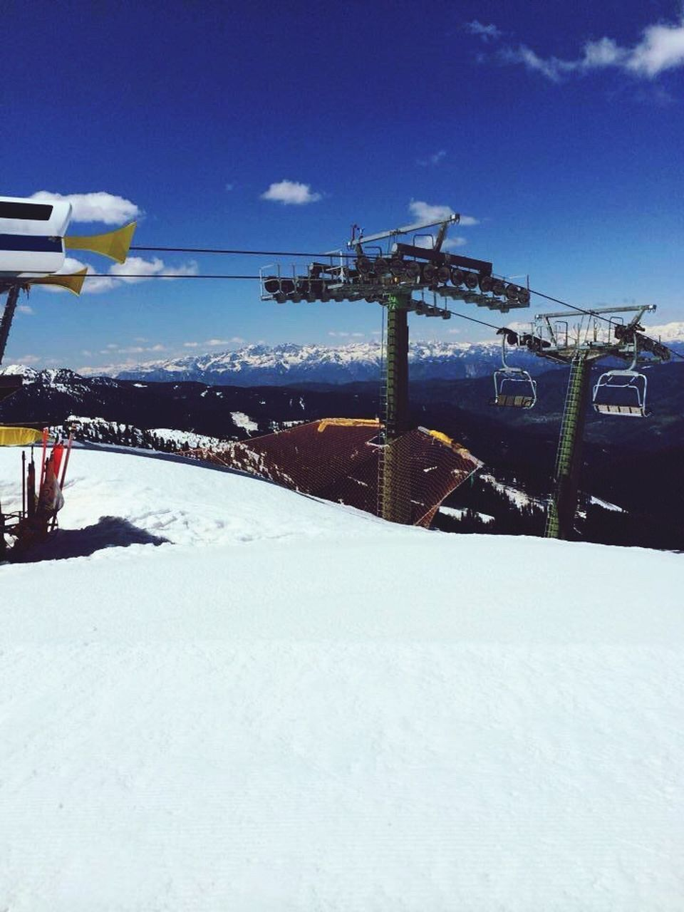 snow, winter, cold temperature, transportation, nature, no people, sky, day, mode of transportation, built structure, architecture, covering, travel, outdoors, white color, cloud - sky, construction industry, machinery, industry, ski resort, snowcapped mountain