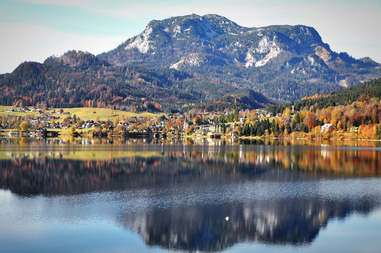 Autumn Alpine Alps Salzkammergut Austria Altaussee Mountain Reflection Beauty In Nature Nature Mountain Range Water Lake Scenics Waterfront Tranquil Scene No People Tranquility Sky Landscape