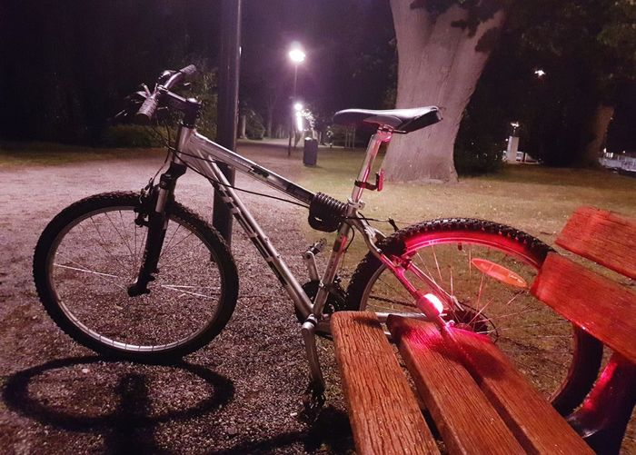 Night Bicycle Long Exposure Illuminated Outdoors No People Red City Close-up Nature EyeEm Diversity Photography Is My Escape From Reality! Photo♡ EyeEm Best Shots EyeEmNewHere Night Life 🌛 Low Angle View Bicycle