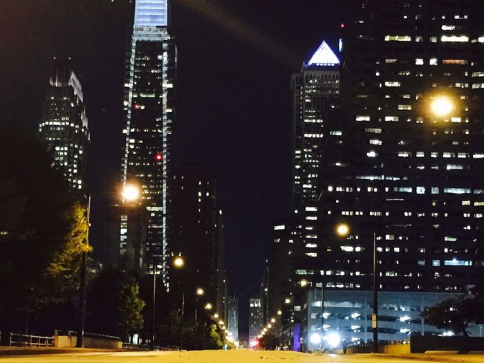The city at night. Downtown Philadelphia Night Lights Night City Night Photography Highrises