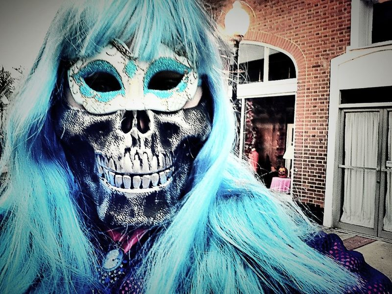 Camera 360 App Halloween Happy Halloween Halloween_Collection Masks Masks Persons Masks Decor Wigs Wigs:) Wigs Are Awesome Blue Blues Blue Hair Skull Skulls And Bones Skull Face Fish Nets Fishnet Fishnets Main Street Main Street USA Main Street In Georgia